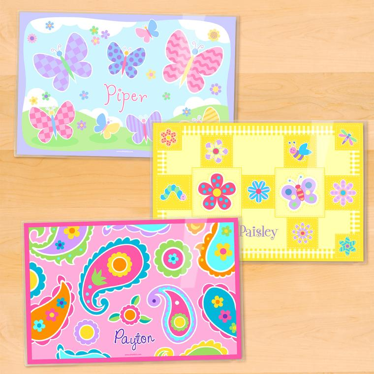 Flowers Personalized Kids Placemat Set of 3