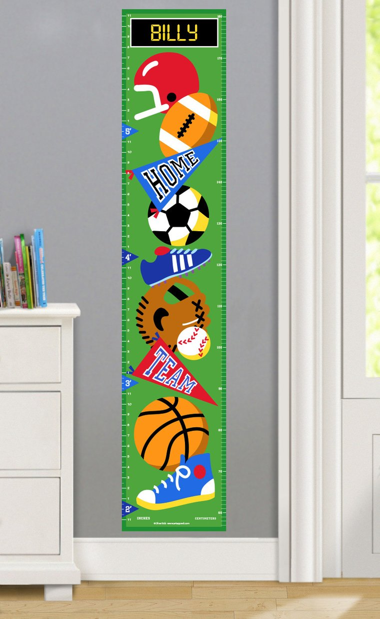 Game On Personalized Decals Kids Growth Chart
