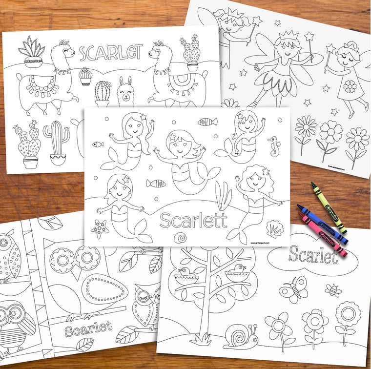 Girl's Personalized Kids Colouring Placemat Set of 10