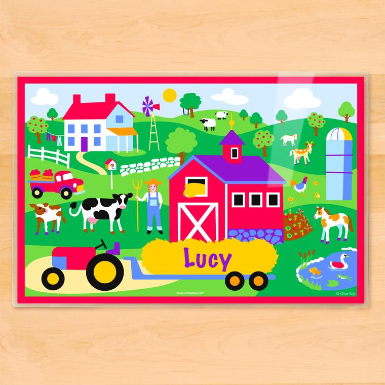 Girls Country Farm Personalized Kids Placemat