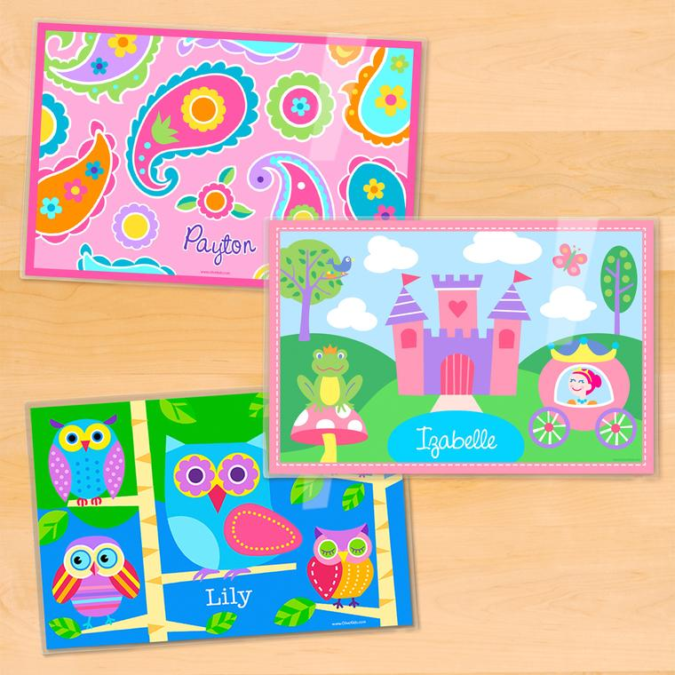 Girls Personalized Kids Placemat Set of 3