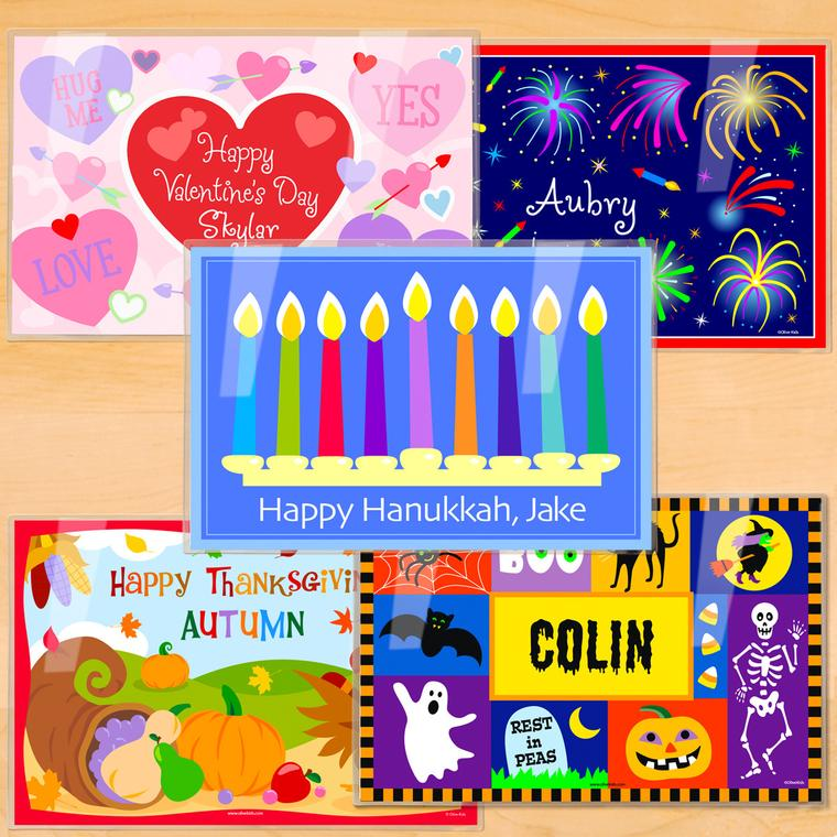 Hanukkah Holiday Personalized Kids Placemat Set of 5