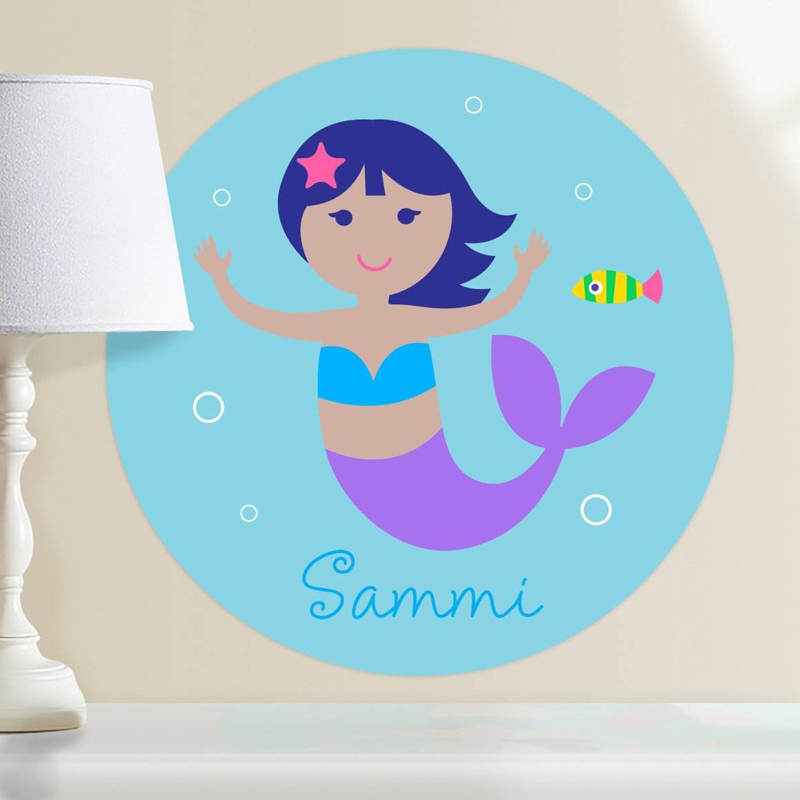 Mermaids (Dark Skin, Dark Hair) Personalized Kids Wall Dotz Decal
