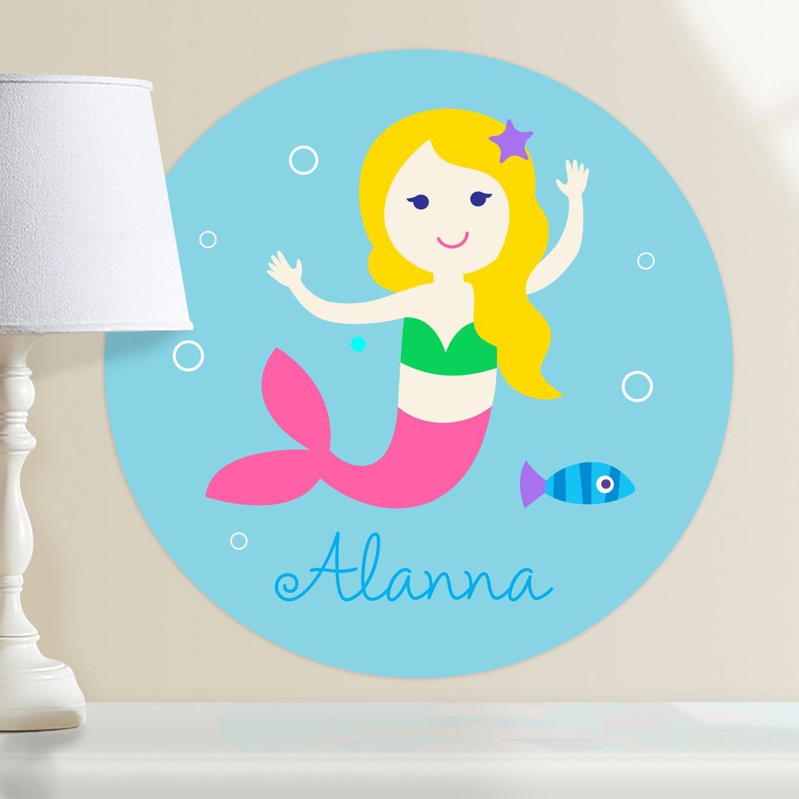 Mermaids (Light Skin, Blonde Hair) Personalized Kids Wall Dotz Decal