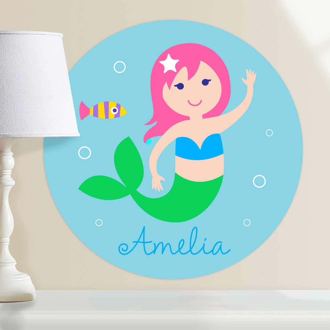 Mermaids (Light Skin, Pink Hair) Personalized Kids Wall Dotz Decal