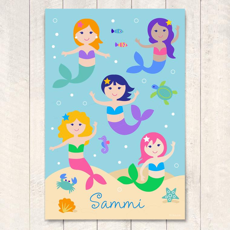 Mermaids Personalized Art Print
