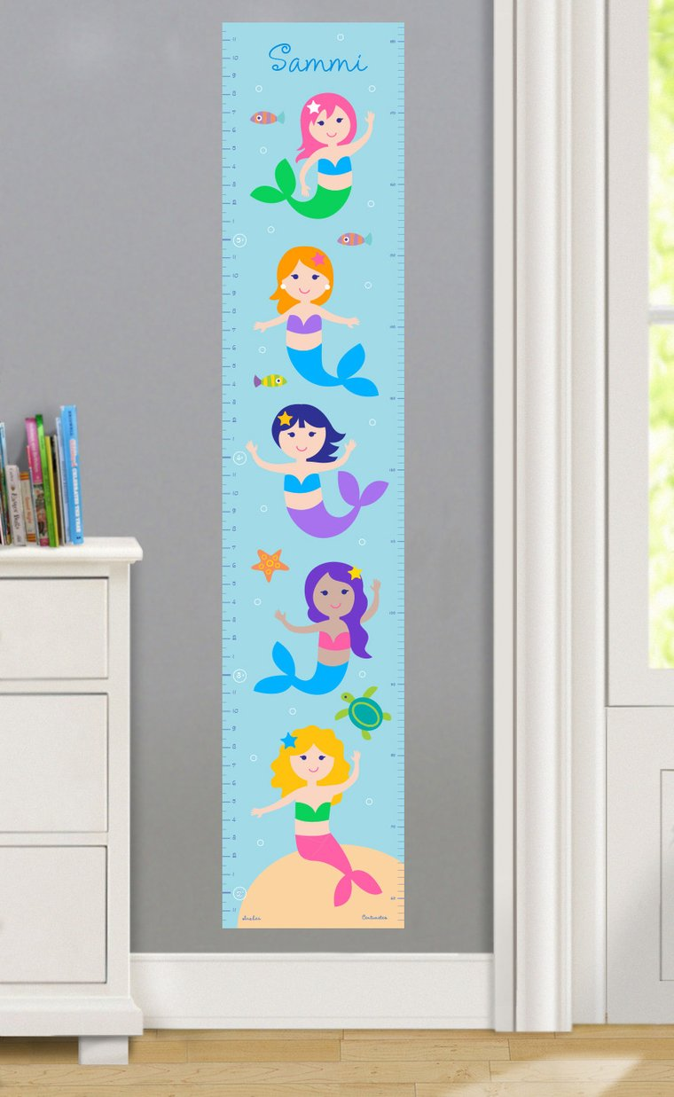 Mermaids Personalized Decals Kids Growth Chart