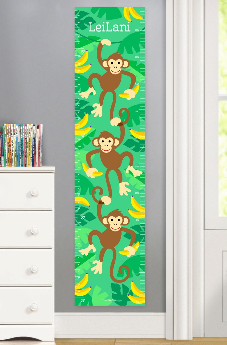 Monkeys Personalized Kids Canvas Growth Chart