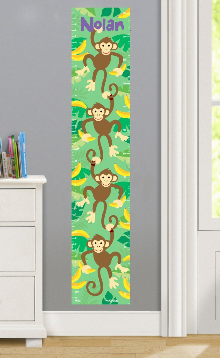 Monkeys Personalized Decals Kids Growth Chart
