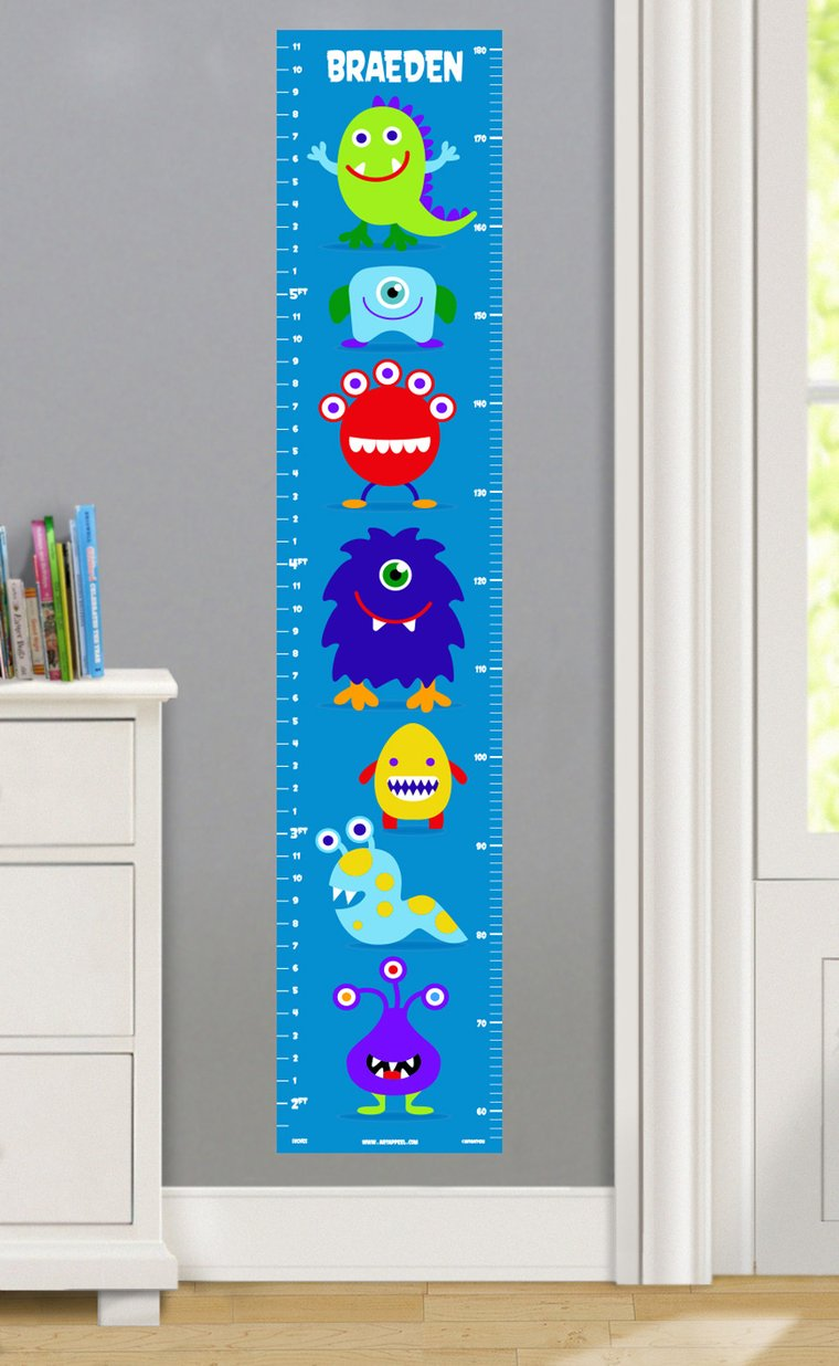 Monsters Personalized Decals Kids Growth Chart