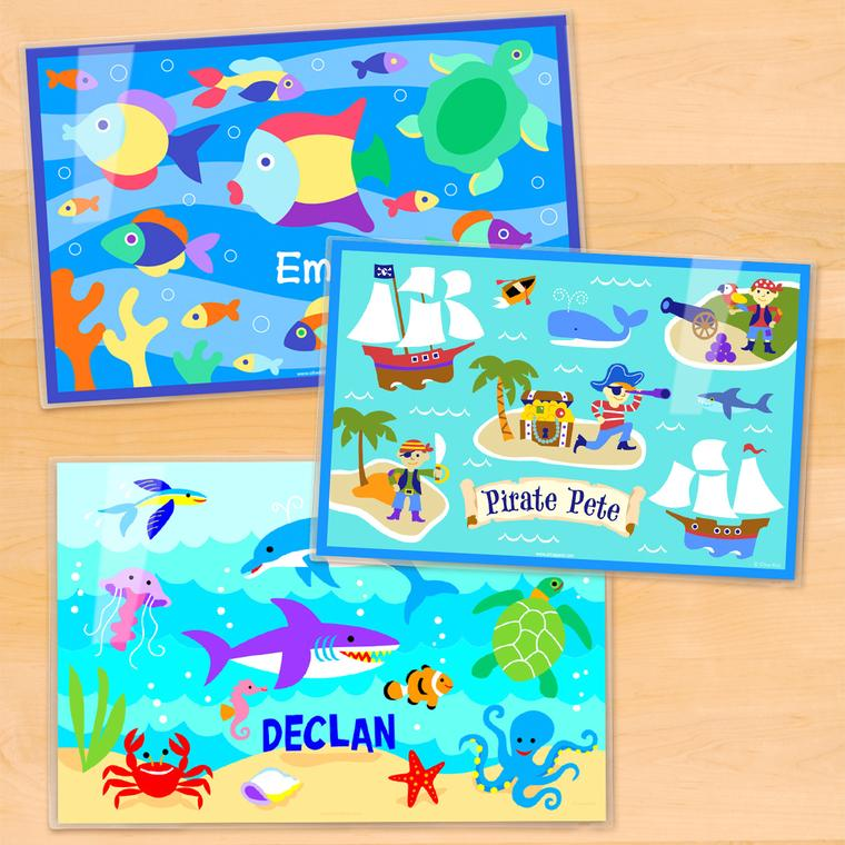 Ocean Boys Personalized Kids Placemat Set of 3