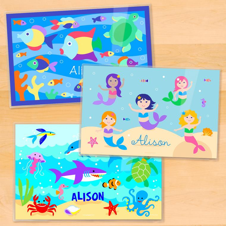 Ocean Girls Personalized Kids Placemat Set of 3