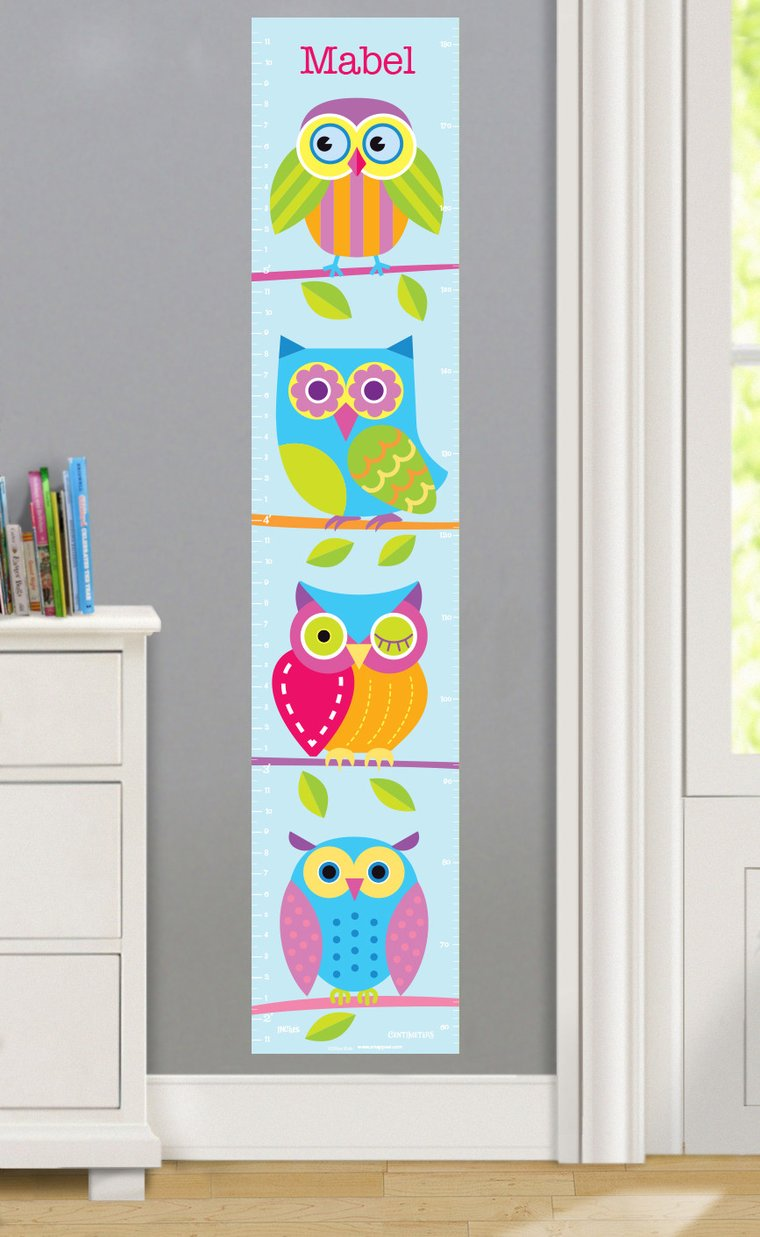Owls Personalized Decals Kids Growth Chart