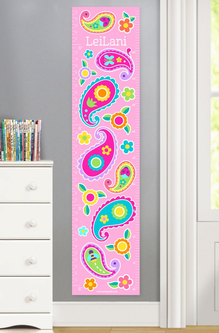 Paisley Dreams Personalized Kids Canvas Growth Chart