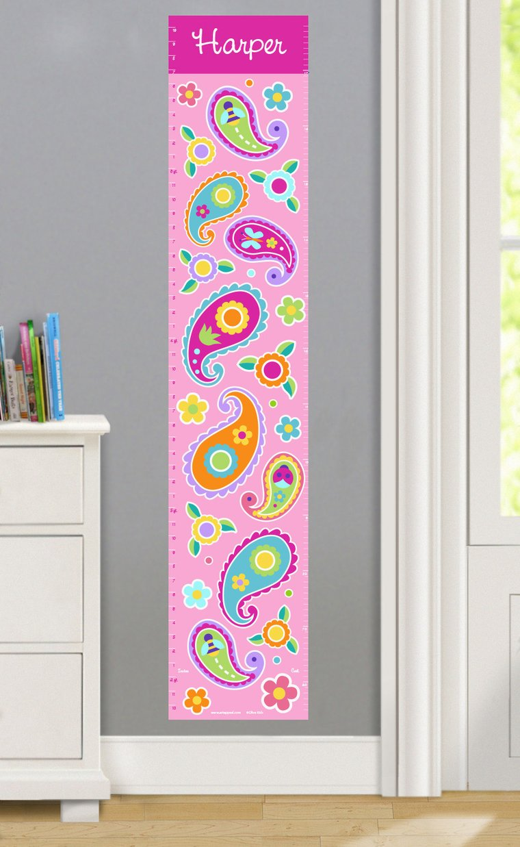 Paisley Dreams Personalized Decals Kids Growth Chart