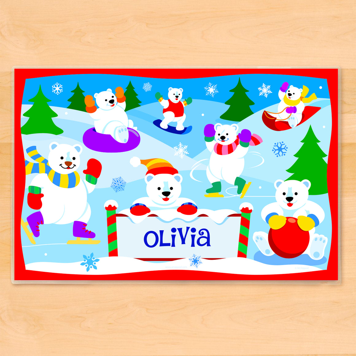 Polar Bears Personalized Kids Placemat
