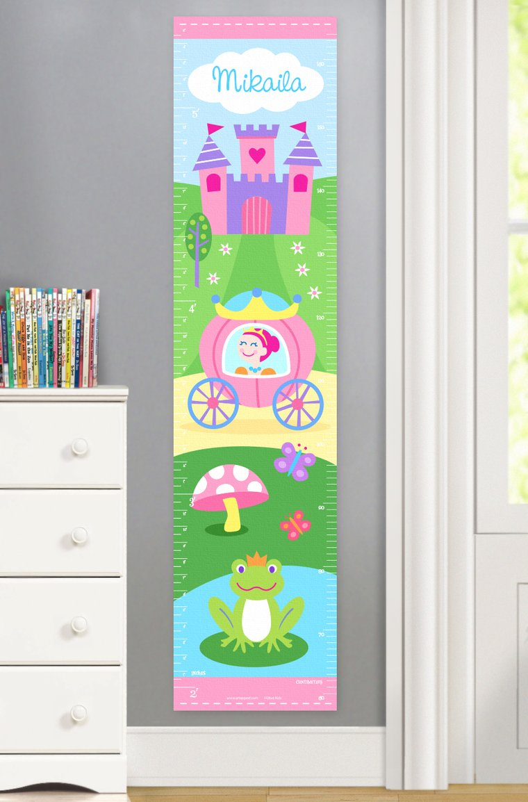 Princess (Light Skin) Personalized Kids Canvas Growth Chart