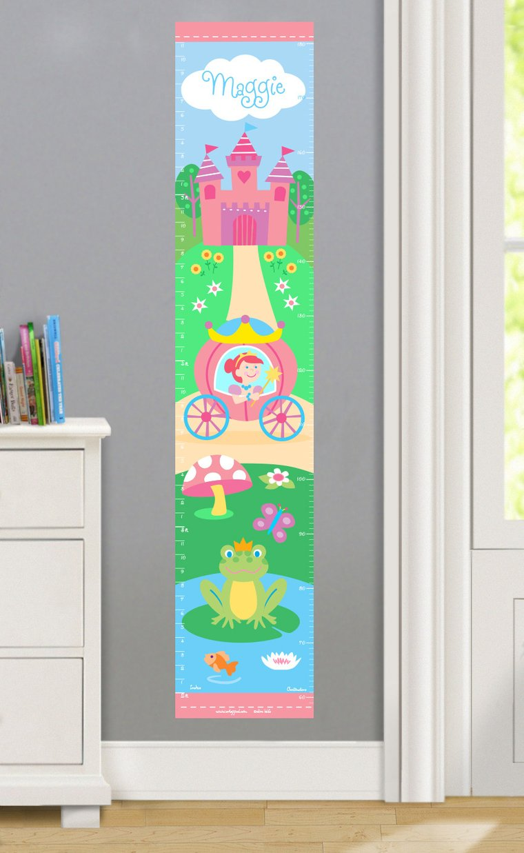 Princess (Light Skin) Personalized Decals Kids Growth Chart