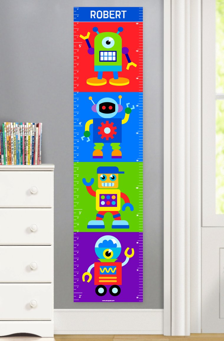 Robots Personalized Kids Canvas Growth Chart