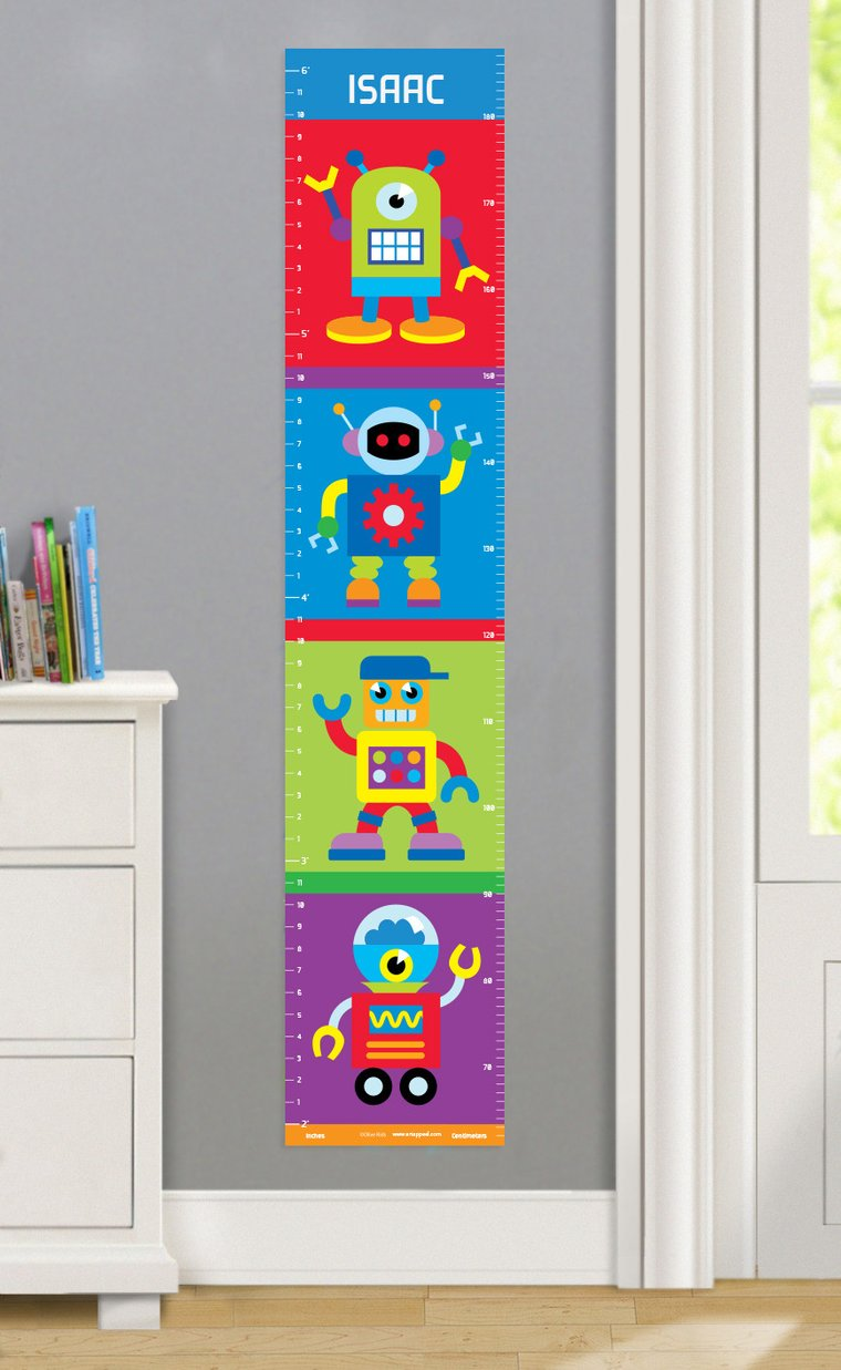 Robots Personalized Decals Kids Growth Chart
