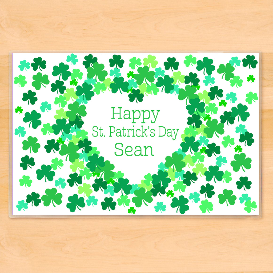 Shamrock St Patricks Day Personalized Kids Placemat