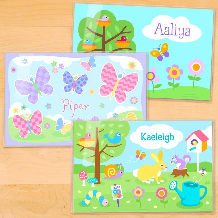 Spring Personalized Kids Placemat Set of 3