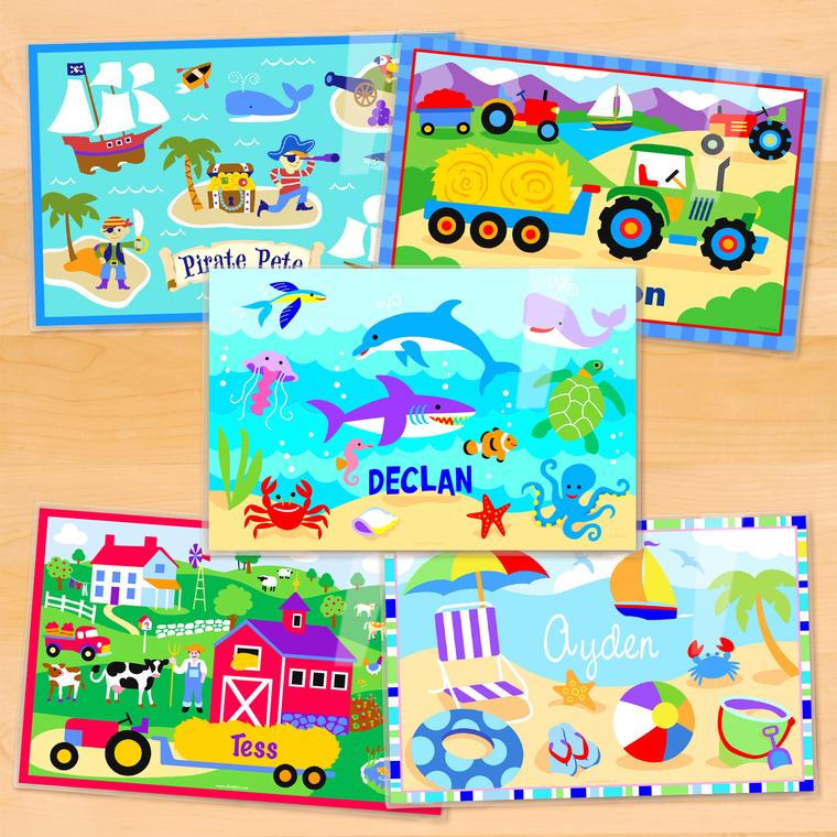 Summertime Boys Personalized Kids Placemat Set of 5
