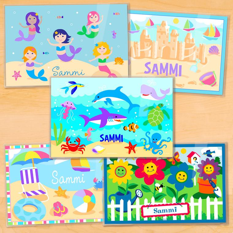 Summertime Girls Personalized Kids Placemat Set of 5