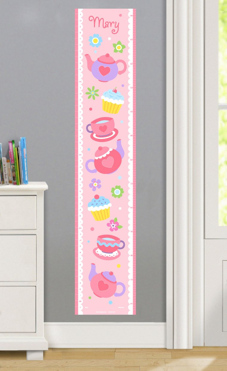Tea Party Personalized Decals Kids Growth Chart