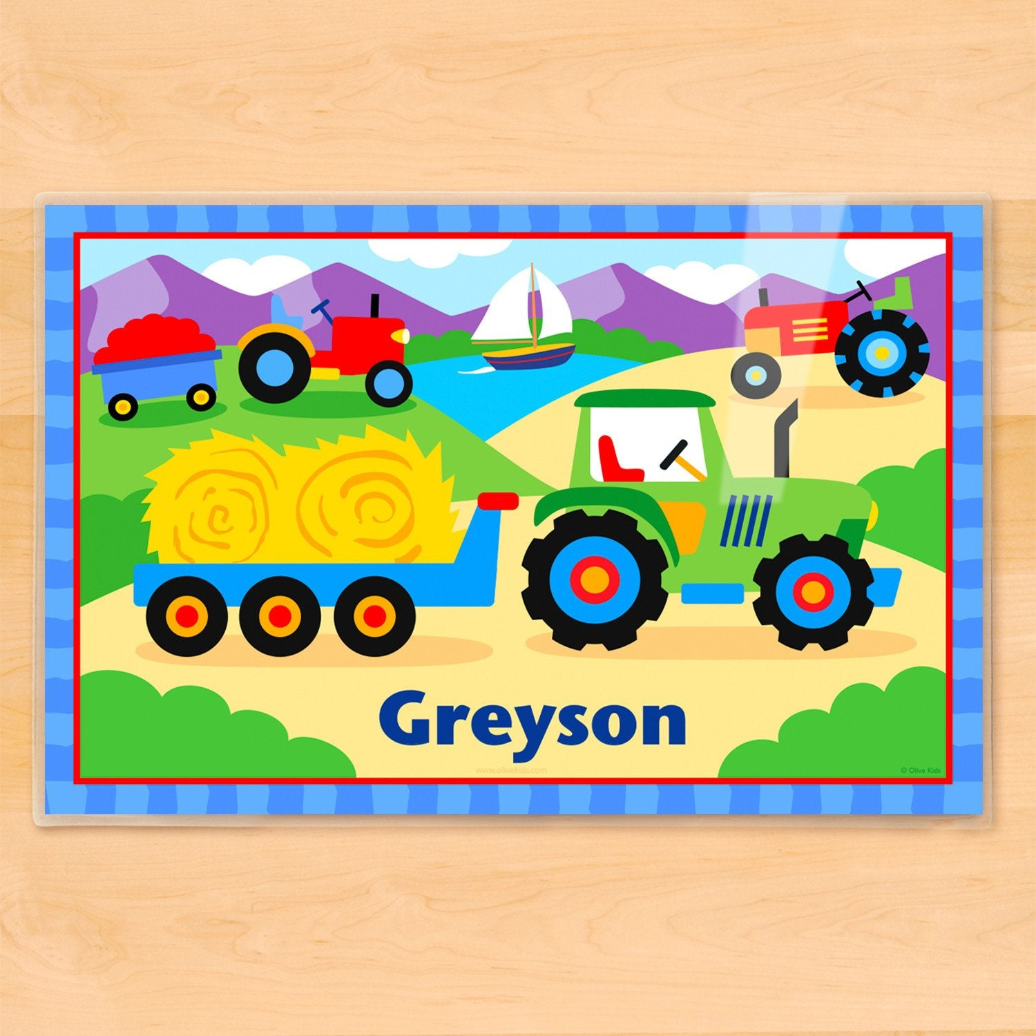 Tractor Personalized Kids Placemat