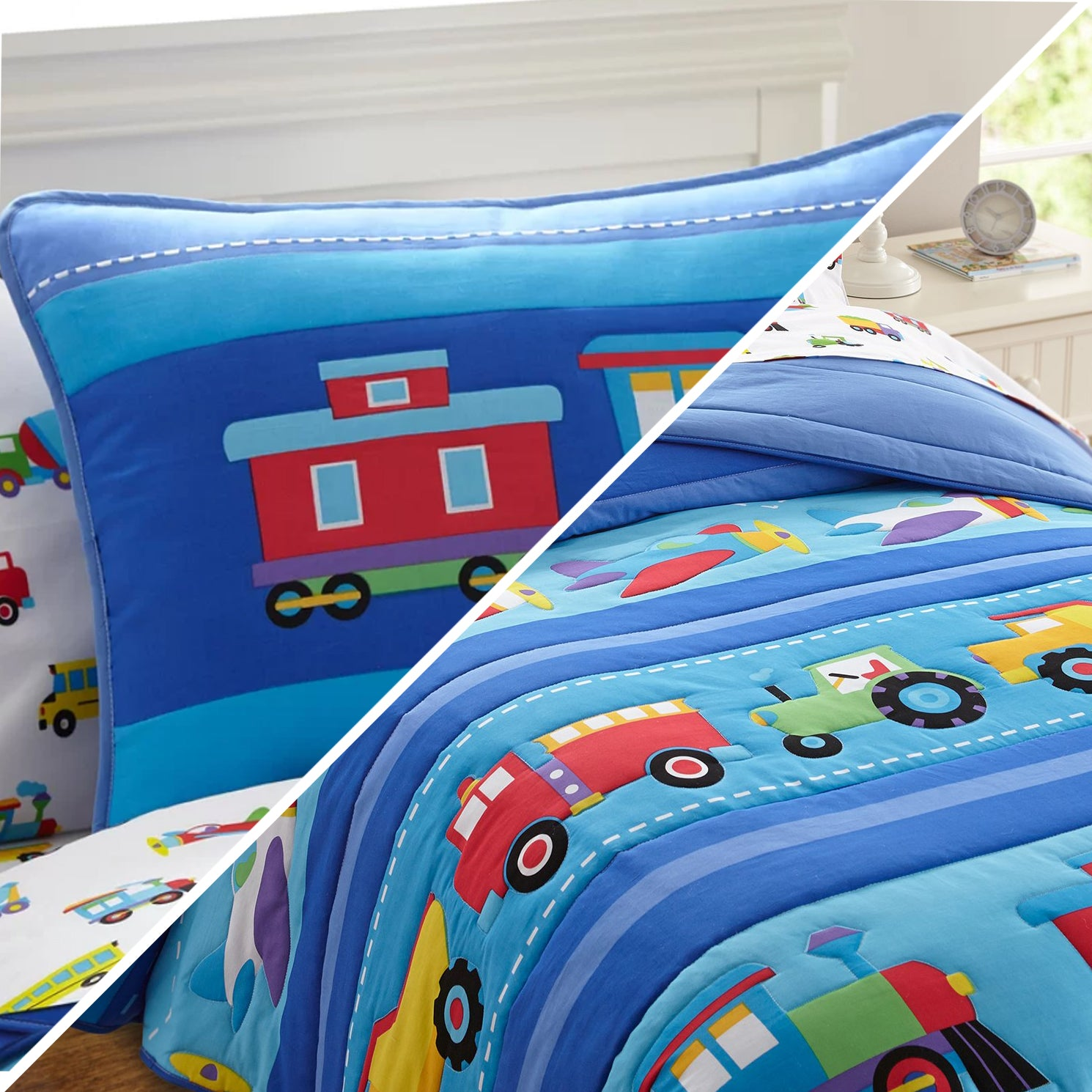 Trains, Planes and Trucks Comforter and Sham