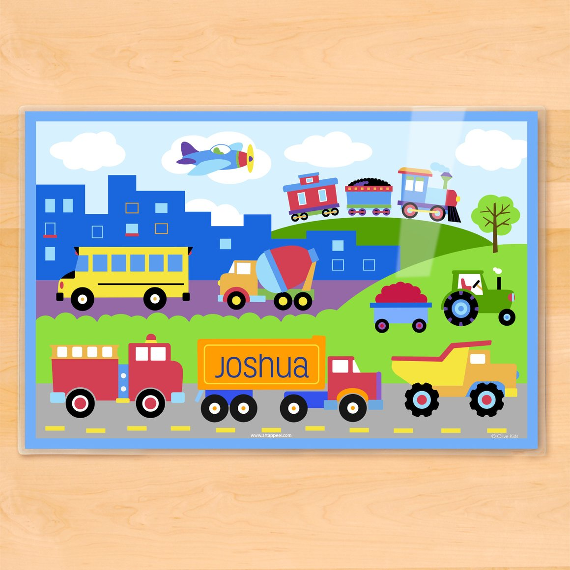 Trains, Planes and Trucks Personalized Kids Placemat