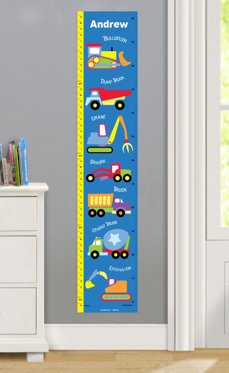 Under Construction Personalized Decals Kids Growth Chart Olive Kids