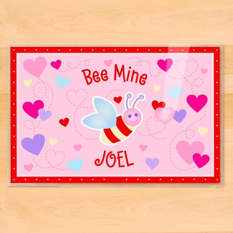 Valentine's Day Bee Mine Personalized Kids Placemat
