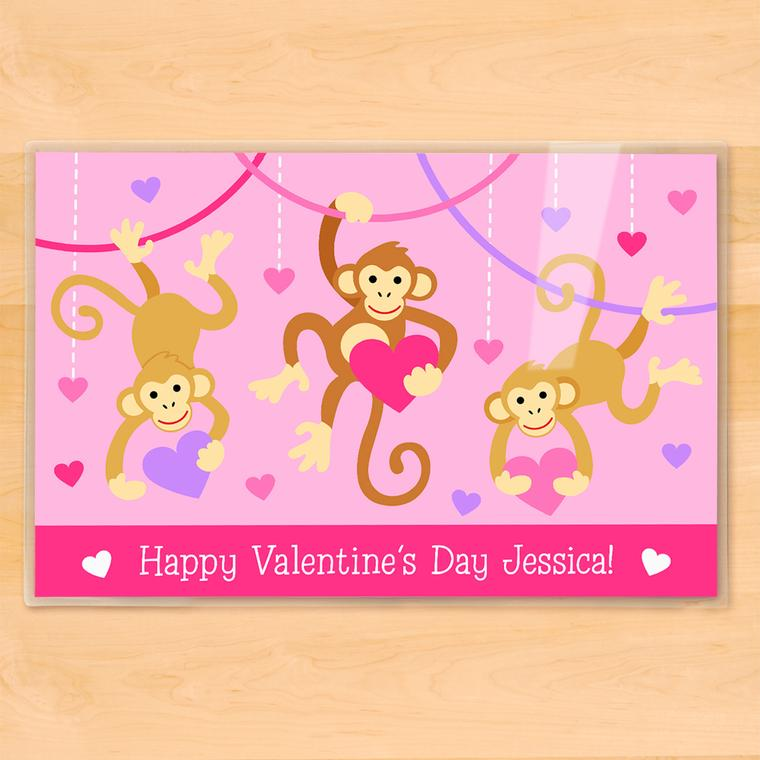 Valentine Monkeys Personalized Kids Placemat
