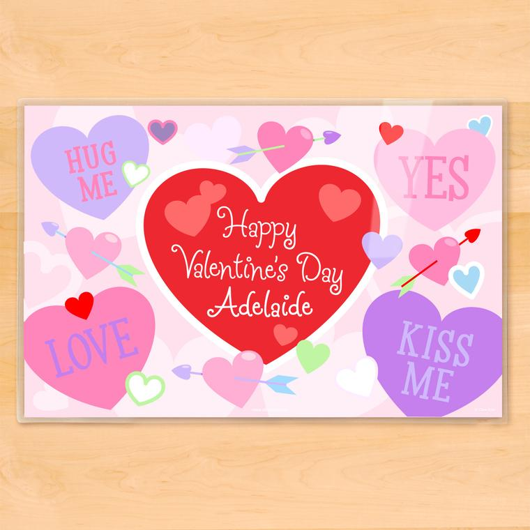 Valentine's Day Hearts Personalized Kids Placemat