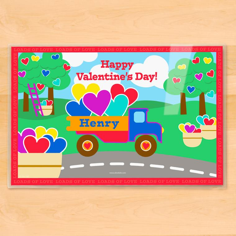 Valentine's Day Truck Personalized Kids Placemat