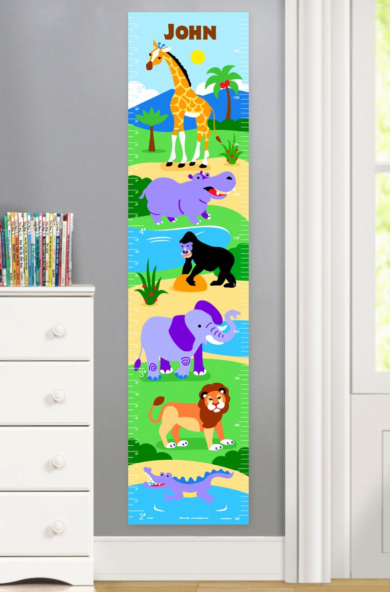Wild Animals Personalized Kids Canvas Growth Chart