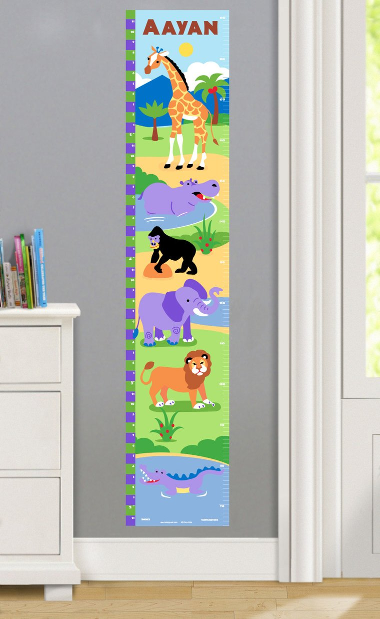 Wild Animals Personalized Decals Kids Growth Chart