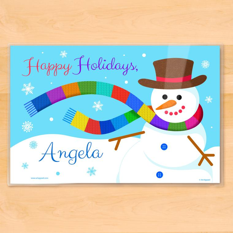 Windy Snowman Personalized Kids Placemat