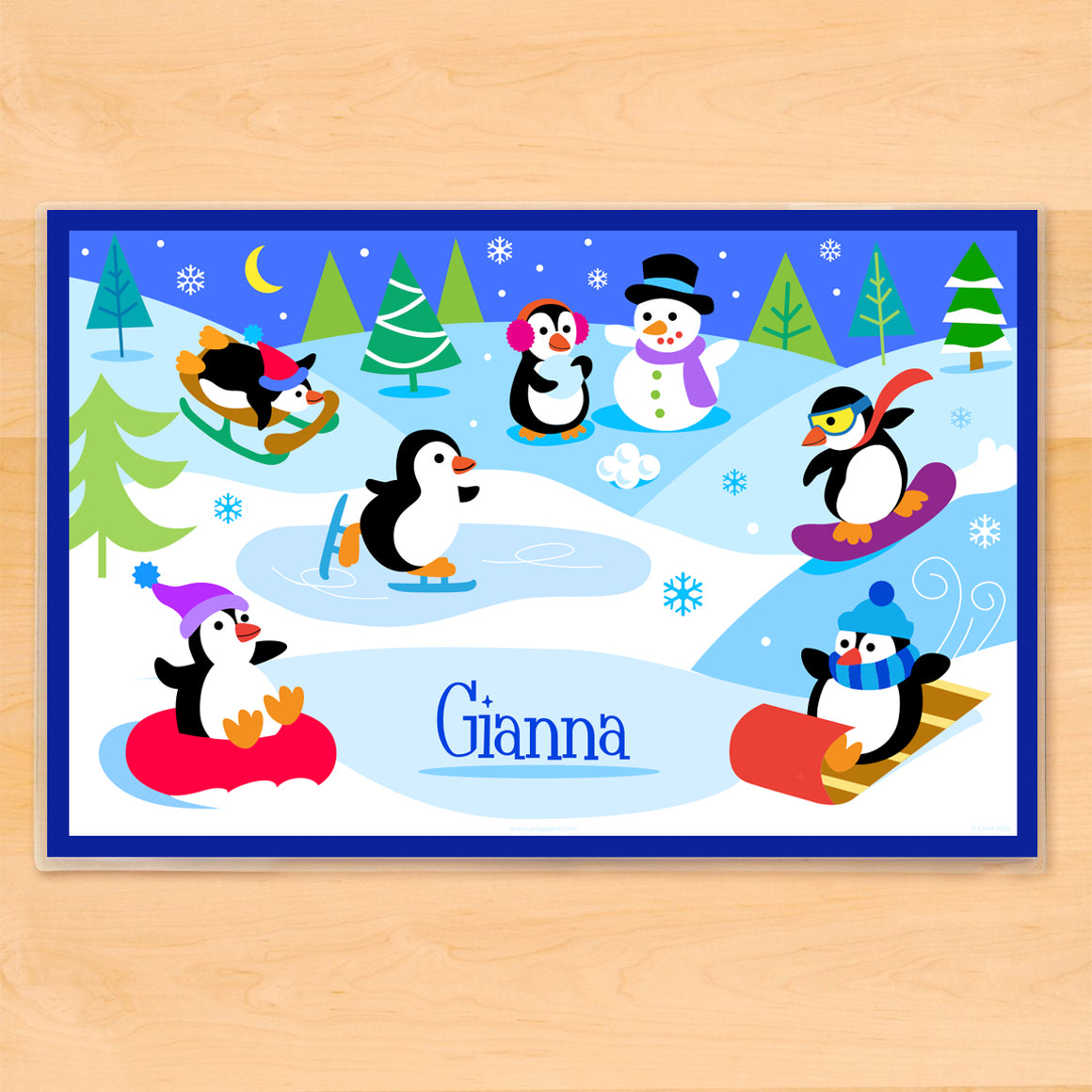 Winter Penguins Personalized Kids Placemat