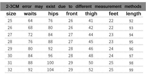 sizes chart for warm jeans