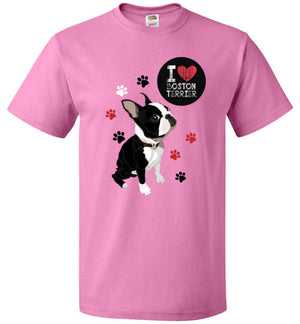 Love Boston Terrier Custom Designed Unisex T-Shirt