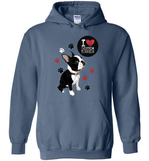 I Love Boston Terrier Custom Designed Hoodie