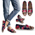 Beautiful Floral Cute Shih Tzu Casual Shoes
