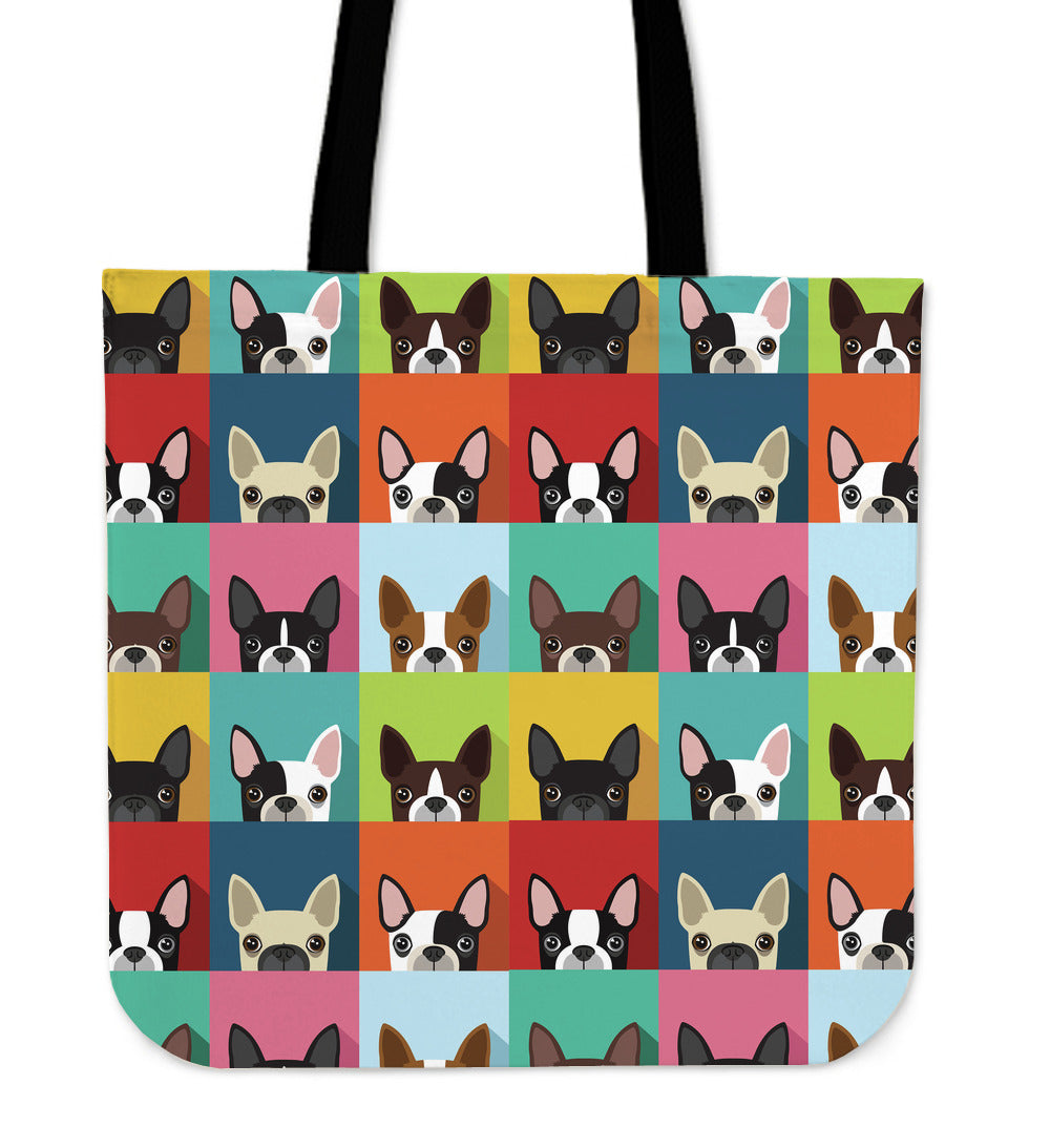 Awesome Boston Terrier Pattern Linen Tote Bag