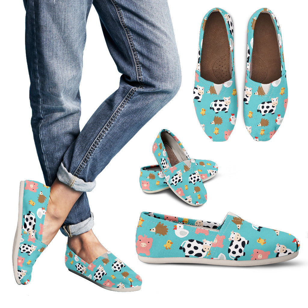 Farm Animals - Chickens, Cows, Pigs, Hedgehogs Women's Casual Shoes