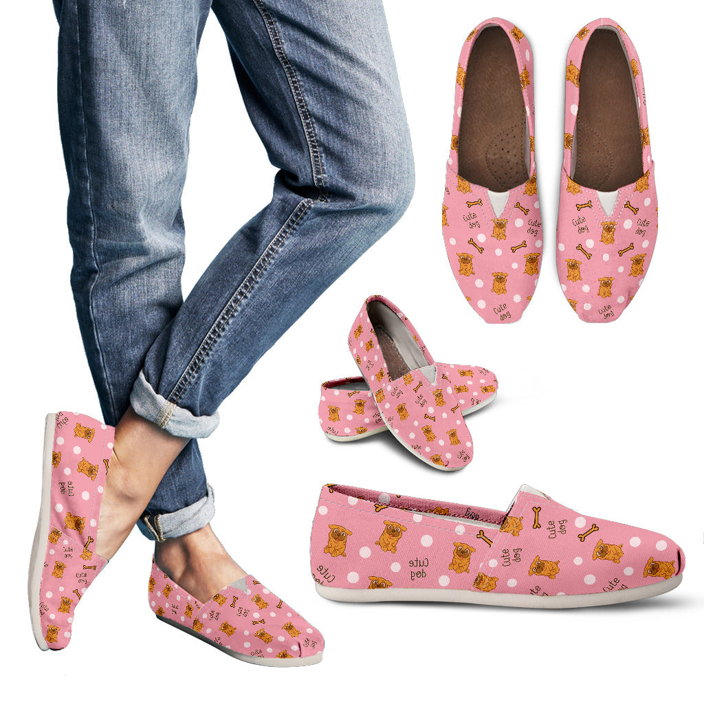 Beautiful Pink Cute Pug Pattern Casual Shoes