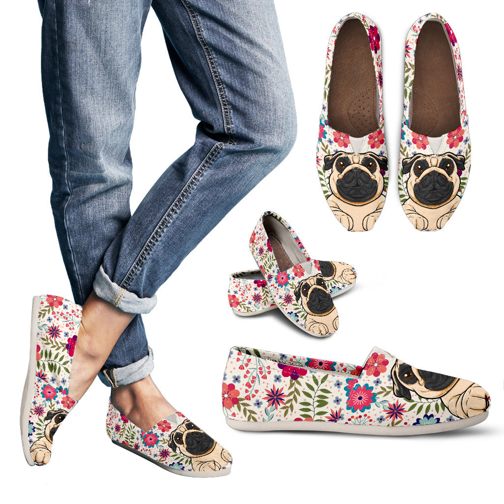 Floral Pug Casual Shoes
