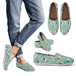 French Bulldog Casual Shoes Flowers (Green)